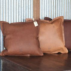 The Adelaide Fine Leather Pillow, Full Grain Leather Sofa pillows, couch, handmade in USA, Rustic, wedding gift, house warming gifts