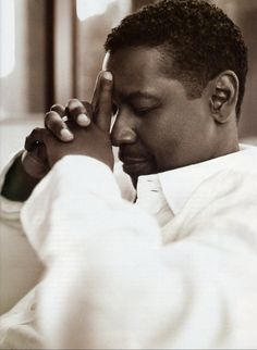 Denzel Washington, by Cliff Watts. This is more sepia than black and white but I love the contrast.