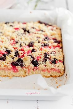 vanilla crumble cake with pink rhubarb and frozen cherries
