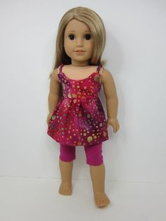 American Girl doll clothes - Pink batik summer top and leggings by JazzyDollDuds.