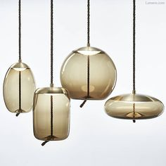 Knot Sfera LED Pendant in smoked glass and brass. By Brokis