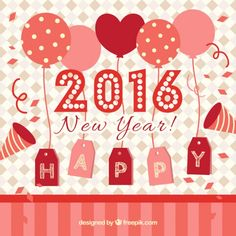 Free Happy New Year 2016 Card Vector
