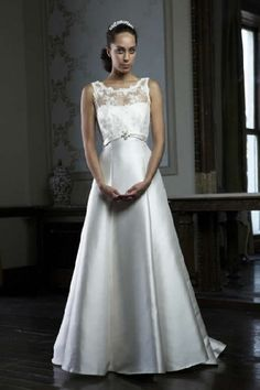 boat neck wedding gown