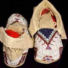 """Lakota Sioux Moccasins  (If I made one of those """"my style"""" pages this is what would go on it)"""