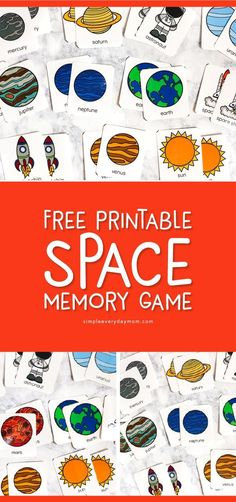 Teach The Solar System For Kids With This Fun Flashcard Game - - Teach the solar system for kids with this fun flashcard game that will help children learn facts about the planets, sun and moon. They're also great for playing memory. Space Activities For Preschoolers, Space Theme Preschool, Planets Activities, Solar System Activities, Space Activities For Kids, Solar System Crafts, Science Activities, Kindergarten Activities, Science Experiments