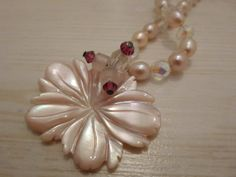 Flower Blossom Pendant  with Pink Pearls Handmade by BaublesAbode, $20.00