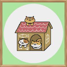 Neko Atsume Cat Cross Stitch Pattern (Patches, Princess and Pumpkin) by CleverCrossStitch on Etsy https://www.etsy.com/listing/265446798/neko-atsume-cat-cross-stitch-pattern