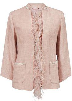 Rosa jakke med fjer 23202 Gustav Feather jacket - rose