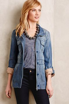 I like this jacket in the green color!! Anorak #anthropologie