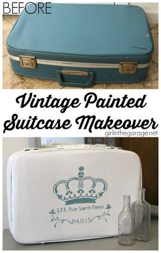 A vintage suitcase makeover with Annie Sloan Chalk Paint (Pure White and Provence) and French stencil. girlinthegarage.net