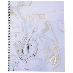 "Blush Marble Notebook 9"" x 11"" The ancient art of paper marbling meets the chic modern office. Our exclusive notebook has a gold spiral binding and luxe gold foil accents on the cover. The interior pa"