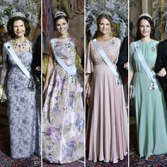 Crown Princess Victoria, Queen Silvia, Princess Madeleine and Princess Sofia at the King's dinner for the Nobel Laureates 2017