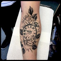 Want a lily in there too for my favorite flower and roses for my little sisters favorite. Love pocket watches! #rosetattoos #pocketwatchtattoos #blackandgreytattoos