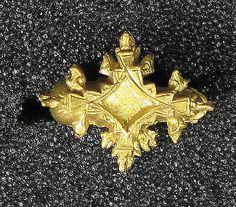 Cast earring, foliate diamond shape. gold. Central Java, 8th-9th century
