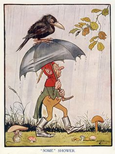vintage print - crow and elf walking in the rain -- some shower