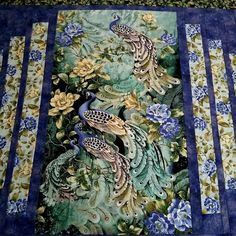 Peacock Wall Hanging or Table Runner Quilted fabric from Peacock Wall Art, Peacock Fabric, Quilted Table Runners, Embroidery Thread, I Fall In Love, Green And Gold, Black Backgrounds, A Table, Etsy