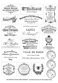 DIY Clear French Labels Project + free printable - home diy decorations Printable Crafts, Free Printables, Free Printable Stencils, French Typography, French Logo, Etiquette Vintage, Project Free, Graphics Fairy, Vintage Labels
