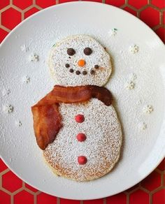 Powered Sugar Frosty the Snowman Pancakes - oh now that's even too cute to eat ;)