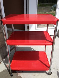 RED Cosco Kitchen Bar Serving Tea Cart by OstrichandPeacock, $95.00  Too expensive for me, but exactly what I'm looking for