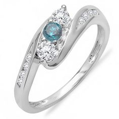 Share and get $20 off your order of $100 or more. 0.50 Carat (ctw) 18k White Gold Round White And Blue Diamond Ladies Swirl Engagement 3 Stone Bridal Ring 1/2 CT - Dazzling Rock #https://www.pinterest.com/dazzlingrock/