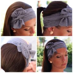 DIY headband-start with putting it on front to back then tying at the back, then bring ends back to front, tie a simple knot and fan the ends into a bow