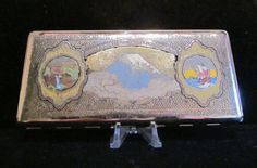 Vintage Cigarette Case 1940s Cigarette Case Mt. Fugi Japanese Cigarette Case Business Card Case EXCELLENT CONDITION