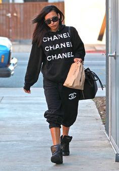 Naya Rivera Wears Chanel Sweatsuit – Cute Chanel Sweatpants | OK! Magazine