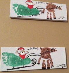 Christmas Handprint Crafts, Christmas Arts And Crafts, Christmas Crafts For Toddlers, Preschool Christmas, Christmas Fun, Baby Handprint Crafts, Baby Footprint Crafts, Christmas Canvas, Christmas Paintings