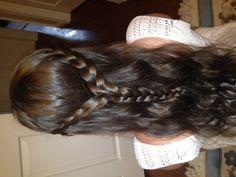 Two French braids into one braid.