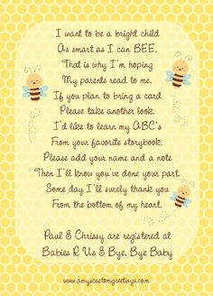 Bumble Bee Baby Shower Invitation - Back  www.amyscustomgreetings.com