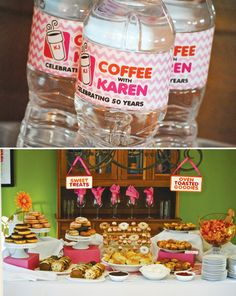 Dunkin' Donuts Party Theme, cute for a little brunch with family. Can have a Dunkin' Donuts table, I would put out another table with some fresh fruit and other breakfast food to make it a breakfast buffet.  Or we could do Starbucks instead since that's what we prefer!
