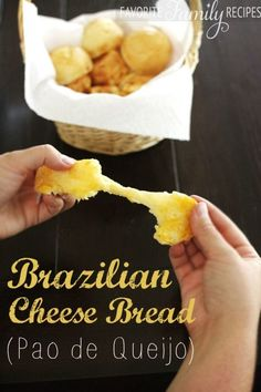 """I love love love this Brazilian cheese bread. I originally discovered it at a restaurant called """"Tucanos Brazilian Grill"""". Every time I go to Tucanos I seriously have to try to limit myself to only a (favorite family recipes) Brazillian Cheese Bread, Brazilian Bread, Brazilian Grill, Brazilian Recipes, Brazilian Cheese Puffs, Brazilian Dishes, Comida Latina, Greek Recipes, Copycat Recipes"""