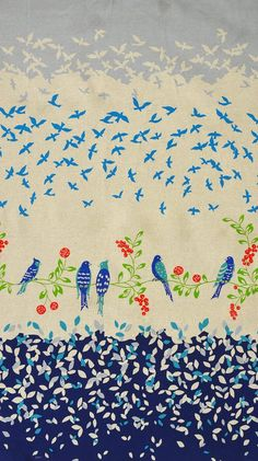 "Echino, Birding CANVAS, Birdsong Navy Border Print  Fabric is sold by the 1/2 Yard. For example, if you would like to purchase 1 Yard, enter 2 in the Qty. box at Checkout. Yardage is cut in one continuous piece when possible.  Examples:  1/2 yard = 1 1 yard = 2 1 1/2 yards = 3 2 yards = 4   1/2 Yard Measures ~18"" x 44/45""  Fiber Content: 55% Linen, 45% Cotton  Hover over image for a larger, better view.  Care Instructions: To increase the..."
