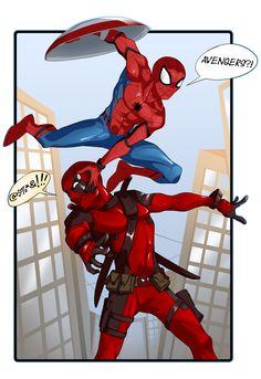 """""""Avengers, I'm coming!"""" - http://inkblotbun.tumblr.com/"""
