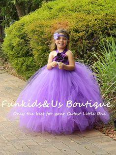Purple Flower girl Dress purple flower by FunkidsandUsBoutique
