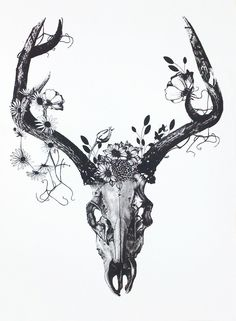 Limited Edition, hand pulled silk screen print, printed with charcoal grey ink. In an edition of 100. This delicate deer skull is from my 'skulls' series which is made up of a collection of 30 ...