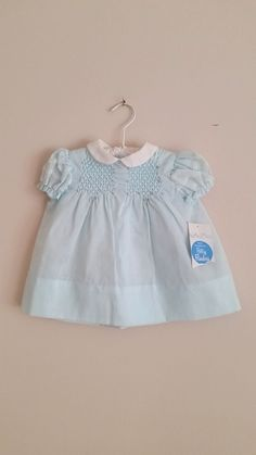 Vintage 1950s Baby Dress / Light Blue / 12 Months / Polly Flinders / Tags Attached