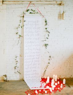 calligraphy scroll backdrop  Photo by Love by Serena Flowers by Janie Medley Styling by Tart Event Co. Calligraphy by Laura Hooper Calligraphy