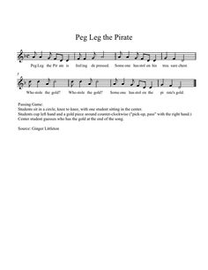 Peg Leg the Pirate:  LA based song with a fun game