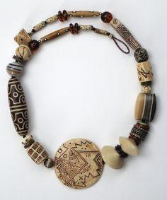 """""""Trebizond"""" necklace - faux-bone and agate polymer clay beads by Tory Hughes Polymer Clay Kunst, Polymer Clay Necklace, Polymer Clay Beads, Tribal Jewelry, Jewelry Art, Jewelry Design, Western Jewelry, Hippie Jewelry, Yoga Jewelry"""