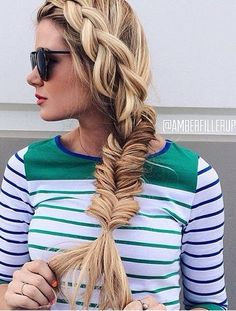 Create this DIY side fishtail braid hairstyle for summer.