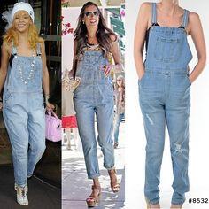 WEBSTA @ judybluejeans - Get their look! #boyfriendoveralls #rihanna #alessandraambrosio #denim #ootd #overalls