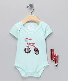 Take a look at this Light Blue Tricycle Bodysuit & Pacifier Clip by Baby Dry Goods on #zulily today!
