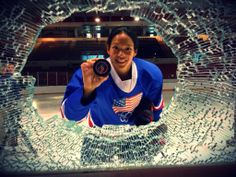 Here's the aftermath when Team USA's Julie Chu ( broke the glass with her shot. Olympic Hockey, Women's Hockey, Hockey Girls, Julie Chu, Us Olympics, Team Usa, Our Lady, Ice Skating, Outfit Posts