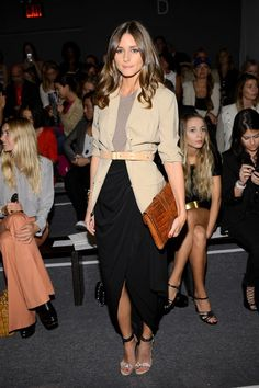 Loving the outfit: the skirt with tee & belted long blazer ~ Olivia Palermo