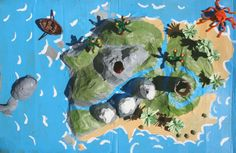 Papier-mache story island: for Luke's Iwo Jima Diorama Best Picture For Montessori Materials products For Your Taste You are looking for something, and it is going to tell you exactly what you are loo Map Projects, School Projects, Projects For Kids, School Ideas, School School, Crafts To Make, Crafts For Kids, Arts And Crafts, Pirate Hat Crafts