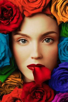 colorful roses around a beautiful female models face with a red lip. Taste The Rainbow, Over The Rainbow, Rainbow Roses, Rainbow Colors, Rainbow Art, Bright Colors, Rainbow Images, World Of Color, Color Of Life