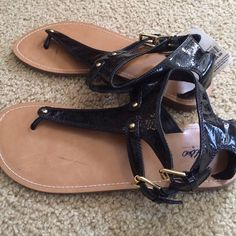 Mossimo Target Black sandals gold hardware size 9 New with tags! They do have a few light marks on the sole and footbed that you cannot see when on.   Man made material. Size 9 Mossimo Shoes Sandals