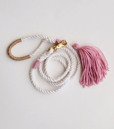 Items similar to pink dog leash / rose & gold / rope dog leash blush wedding on etsy - Pink Dog Leash / Wedding Dog Leash Nautical dog leash made from 3 strands of cotton rope accented w - Dog Wedding Attire, Beaded Beads, Rope Dog Leash, Pink Dog, Collar And Leash, Pet Collars, Diy Stuffed Animals, Dog Harness, Dog Accessories