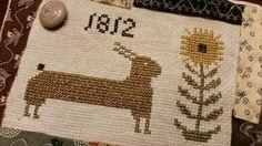 Primitive Folkart Cross Stitched 1812 Bunny by MyLittleCottageHome